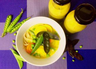 Gemüse-Curry mit Dinkelspaghetti