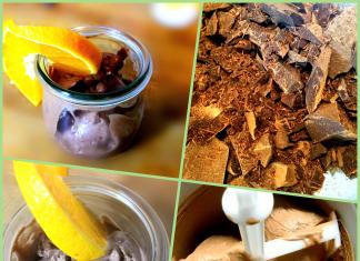 Schokoladeneis mit Schlagcreme und Erythrit