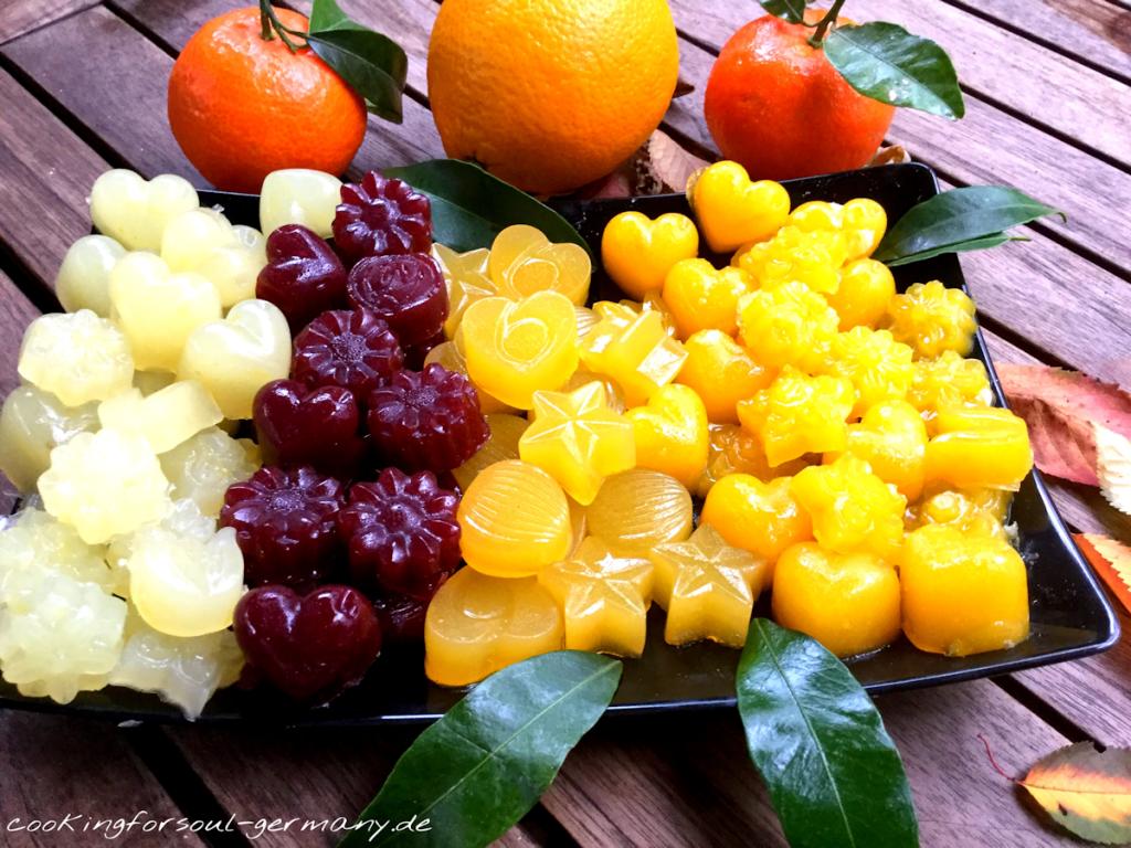 Mandarinen-Fruchtgrummis ohne Zucker