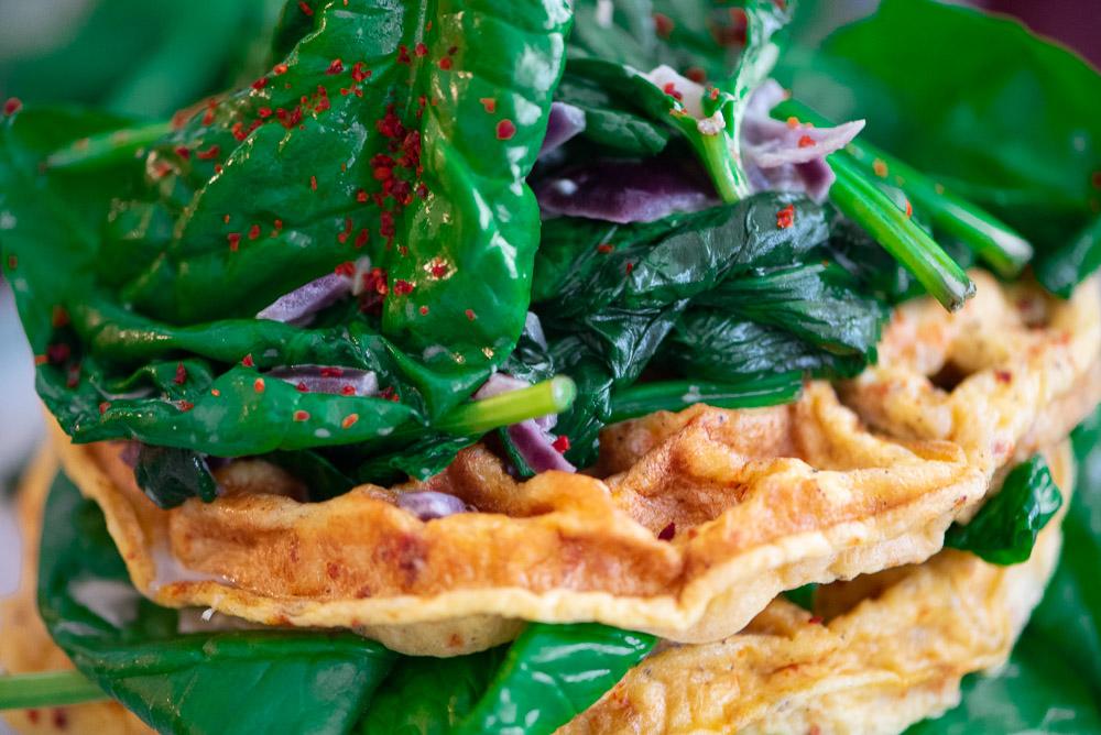 Omelett-Waffeln mit Spinat aus dem OptiGrill