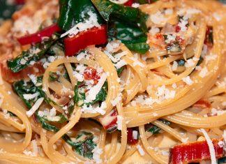 Dinkelspaghetti mit Mangold aus dem Optigrill